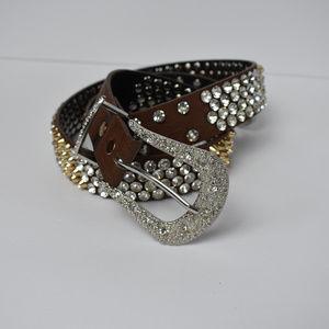 Genuine Leather Rhinestone Studded Belt Small